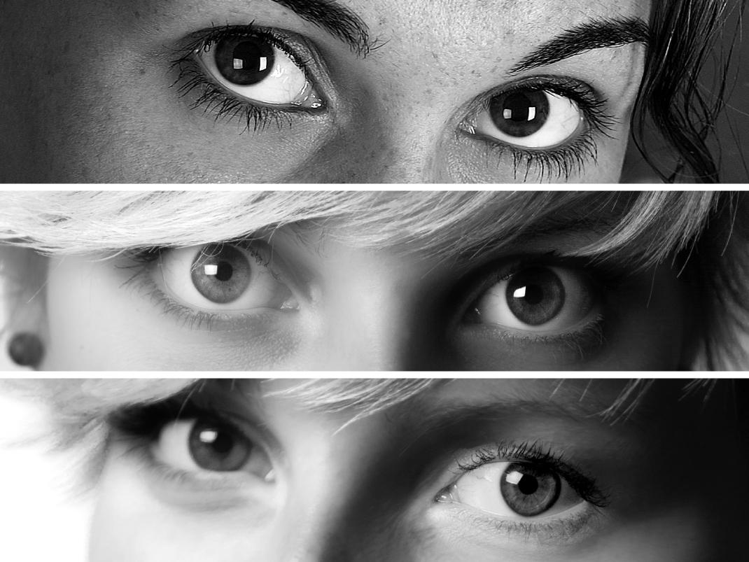 Variationen von Lichtreflexen auf den Augen